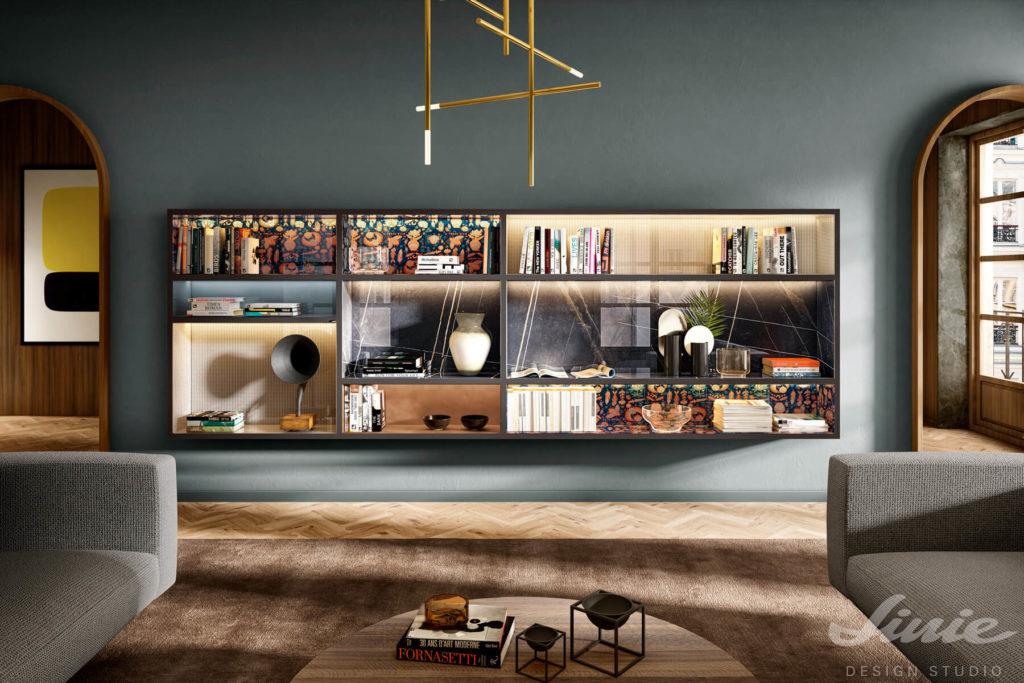 designová knihovna zavěšená na zdi