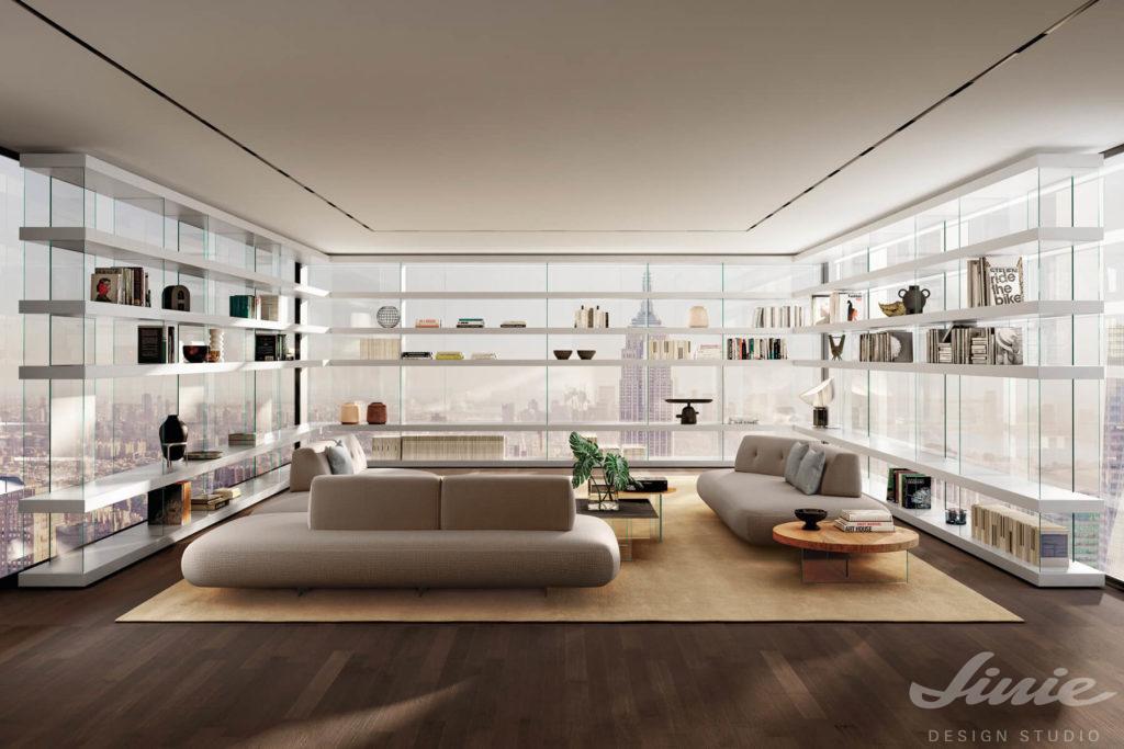 luxusní obývací pokoj s bílou knihovnou