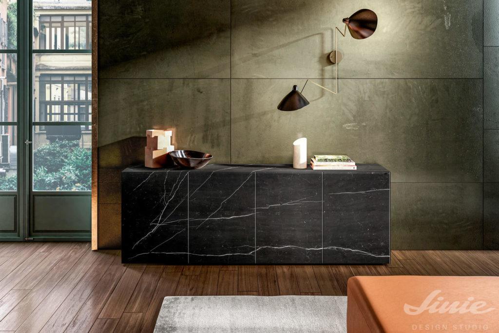 luxusní komoda černý mramor