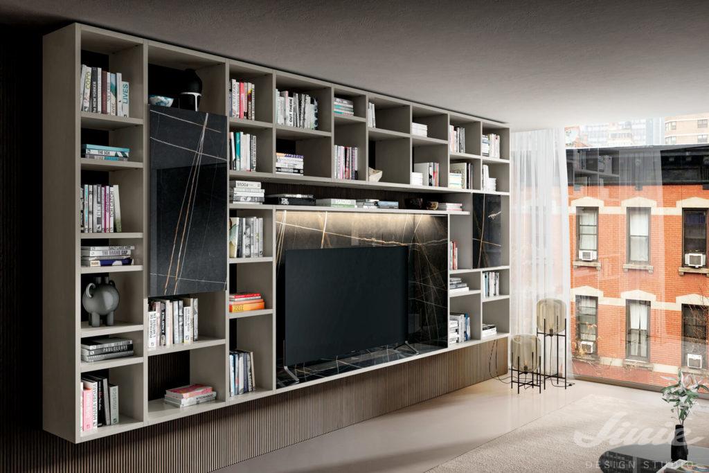 obývací stěna s knihovnou a tv