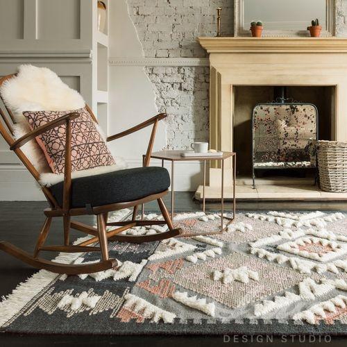 boho styl koberec se vzorem šedý