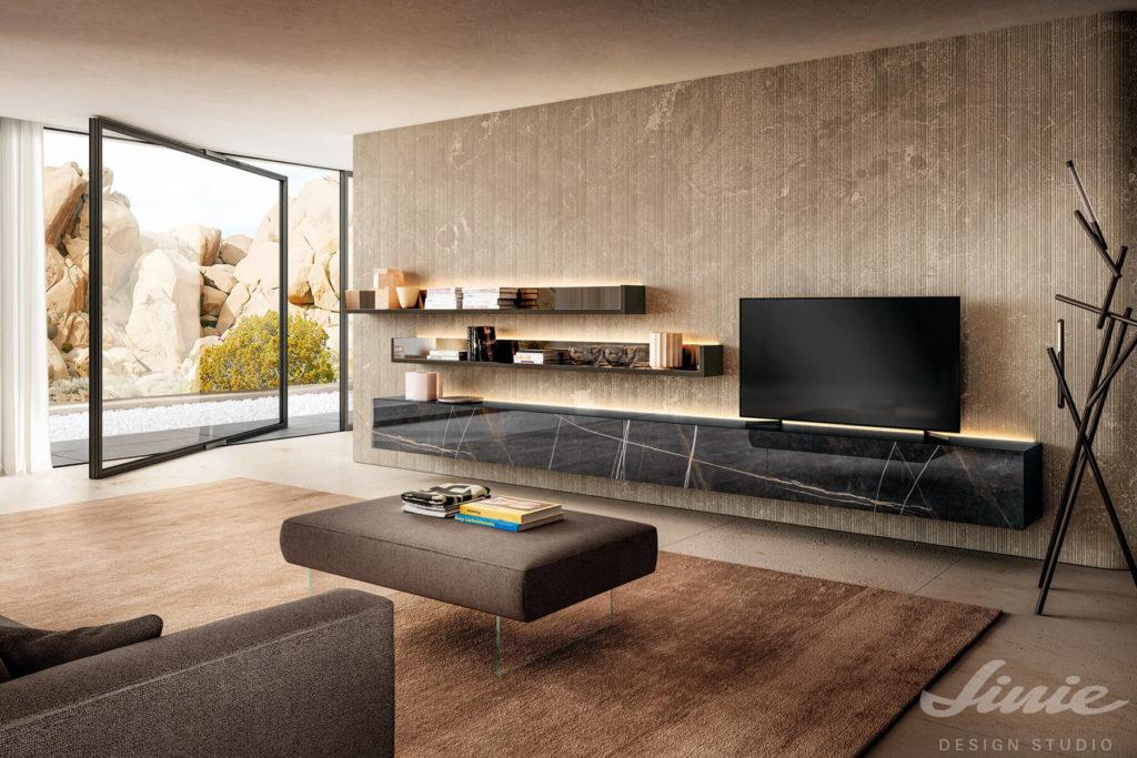 luxusí minimalistický obývací pokoj s černým mramorem