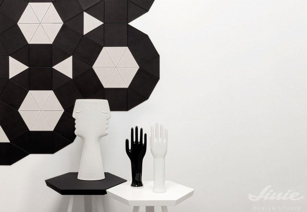 Černobílé geometrické dekorativní stěny StudioArt