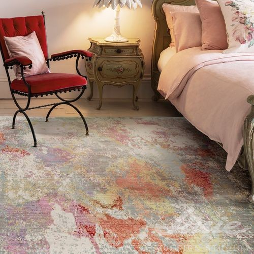 kusový koberec šedo oranžový
