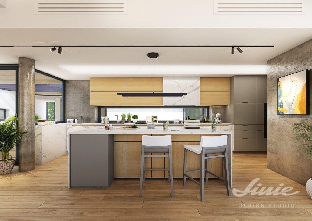 Moderní kuchyně s dubovým dřevem a mramorem