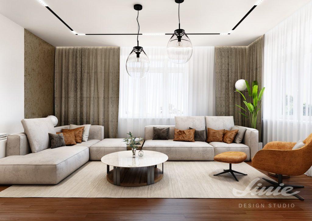 Návrh obývacího pokoje závěsy a záclony