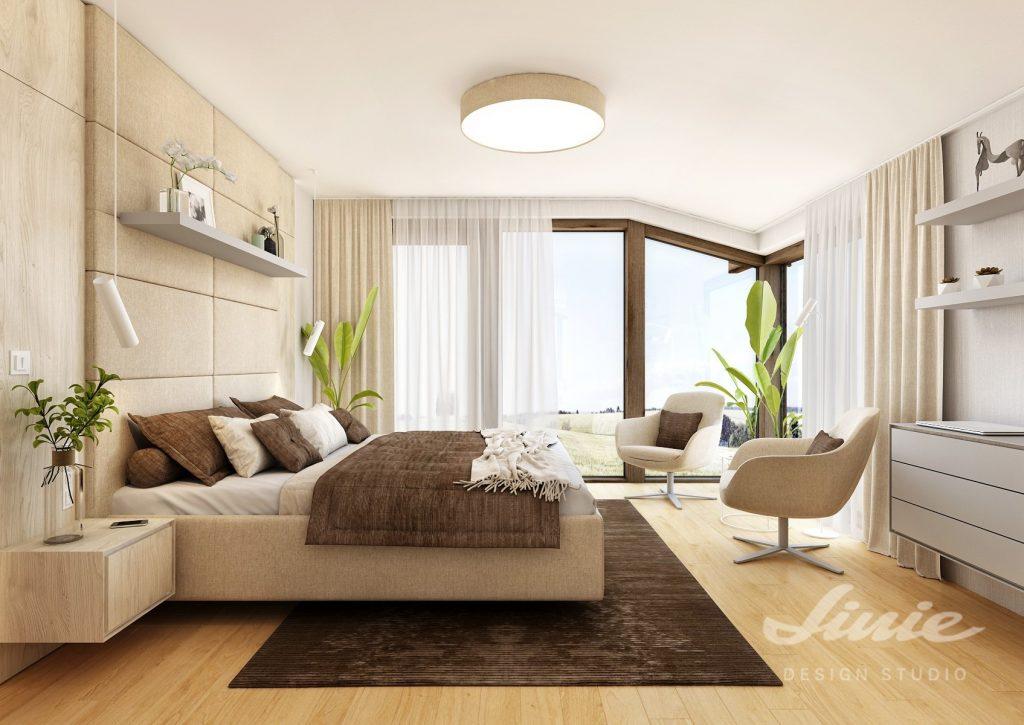 Béžová moderní ložnice v podkroví