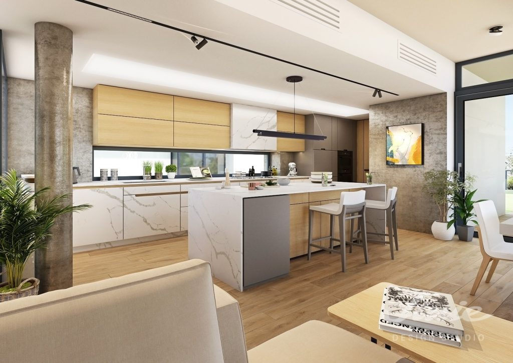 Moderní kuchyně bílý mramor