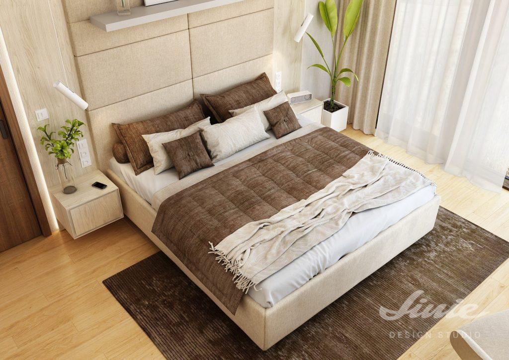 Béžová čalouněná postel na míru
