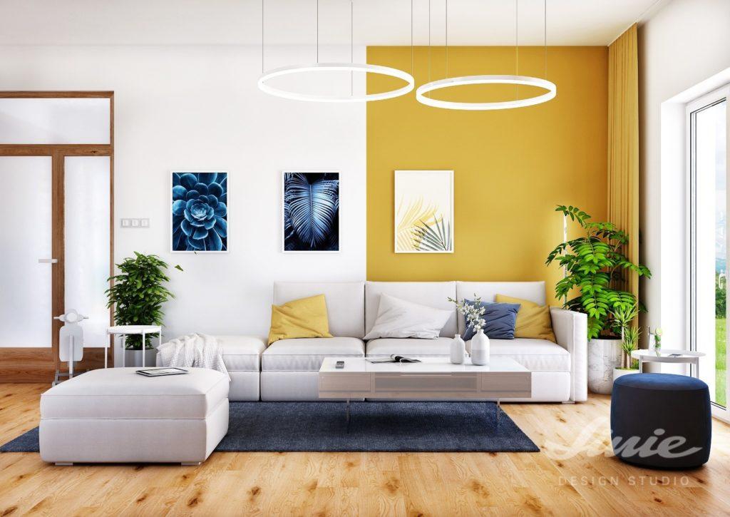 Žlutý obývací pokoj inspirace