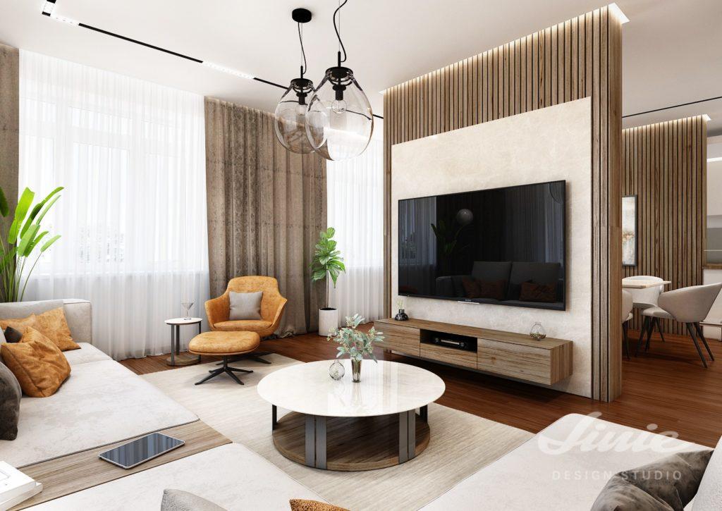 Obývací pokoj dřevěný obklad stěny