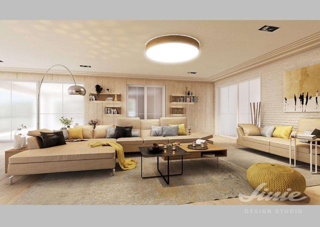 Vizualizace obývacího pokoje žlutá