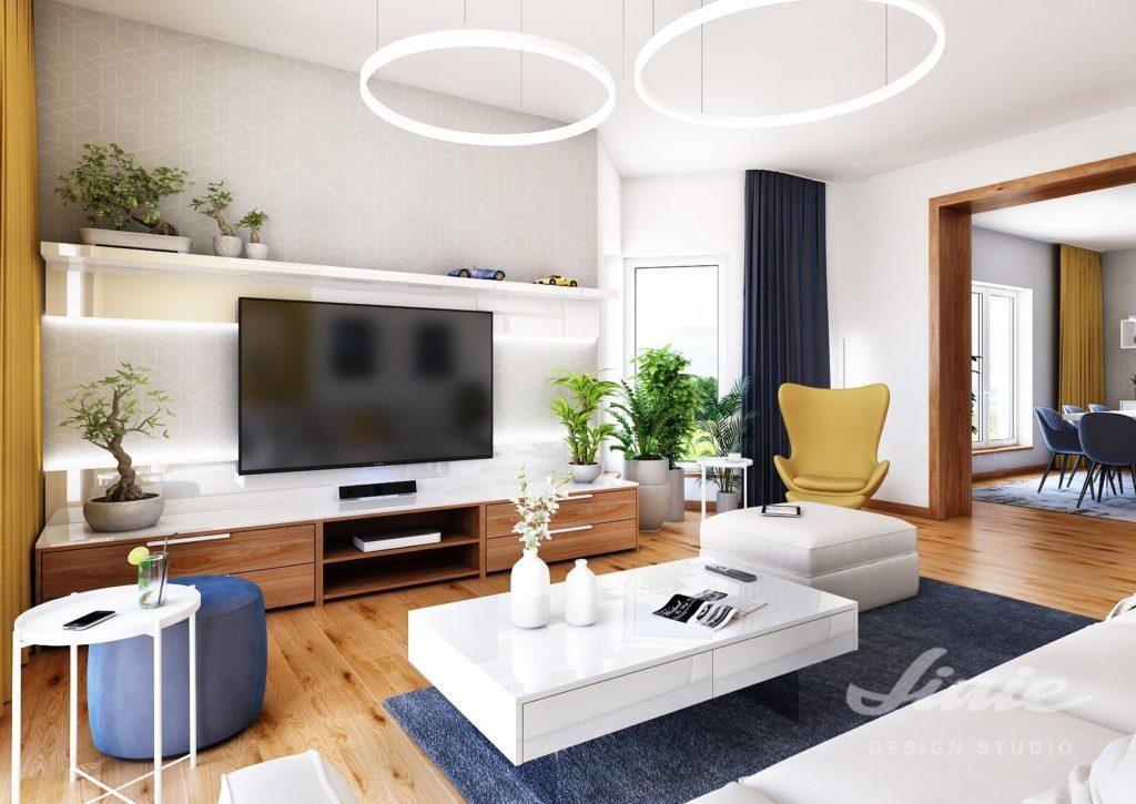 Vizualizace moderního obývacího pokoje
