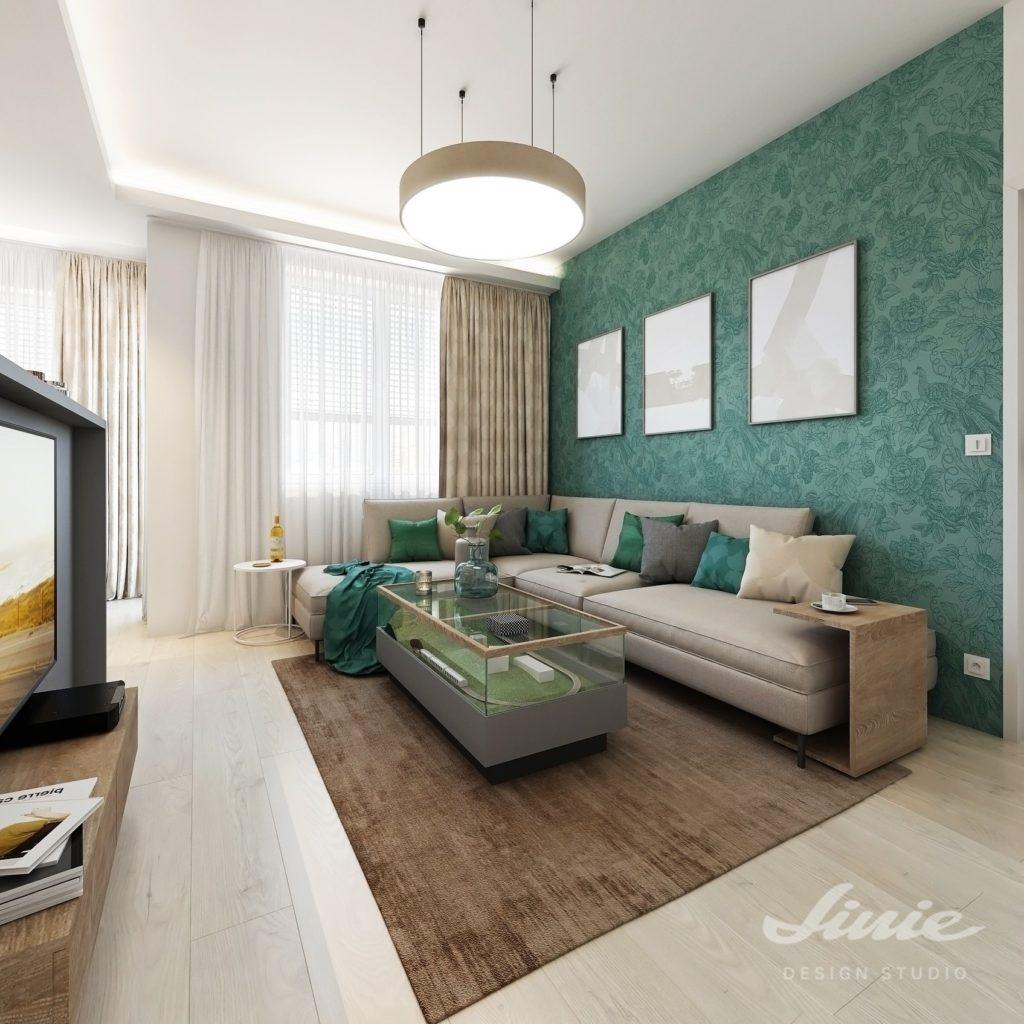 Malý obývací pokoj s kuchyní zelený