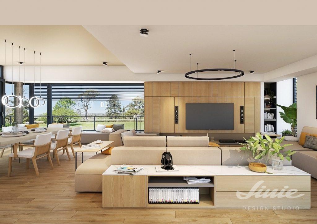 Moderní obývací pokoj s dřevěným obkladem