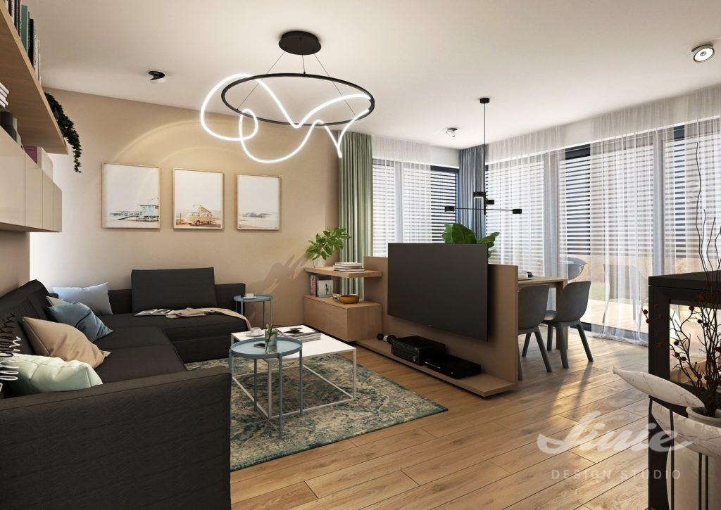 Obývací pokoj s jídelním stolem dispozice