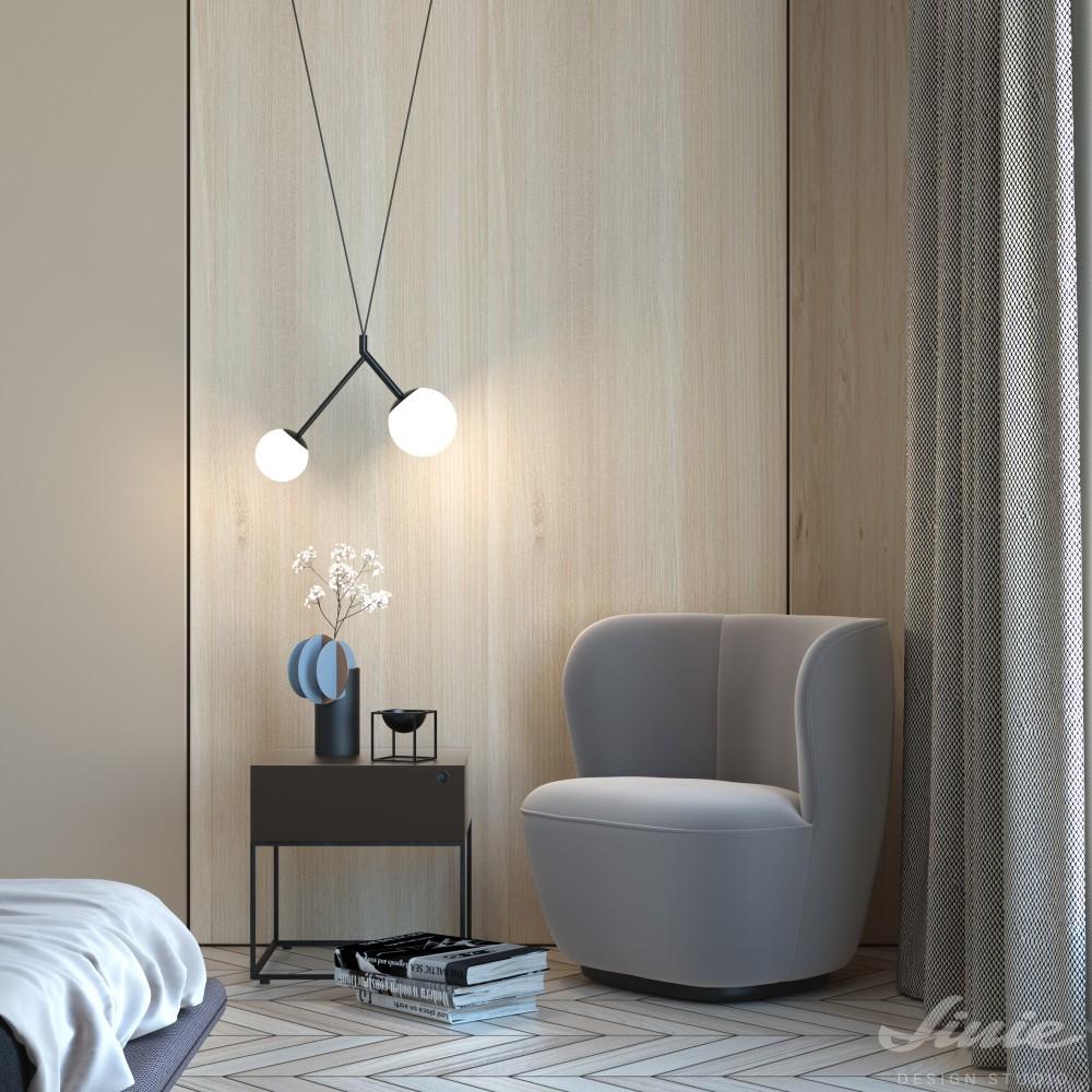 minimalistické závěsné světlo černé s bílou koulí  lucis zed