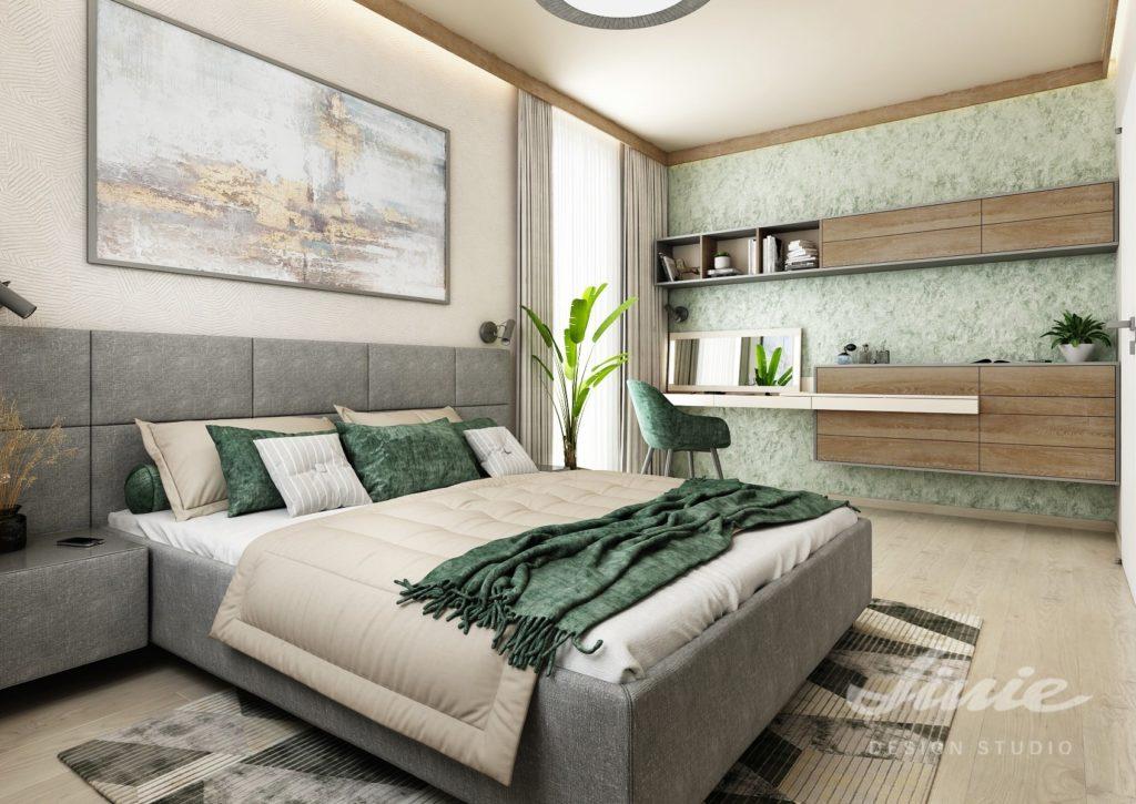 Návrh ložnice tmavě zelená