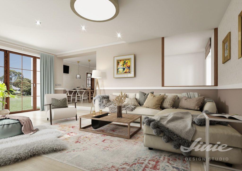 Béžový obývací pokoj vizualizace