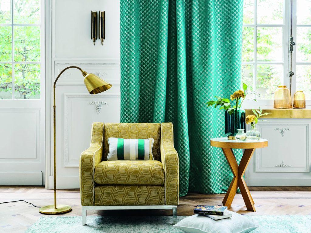 zelené závěsy retro design camengo grand hotel