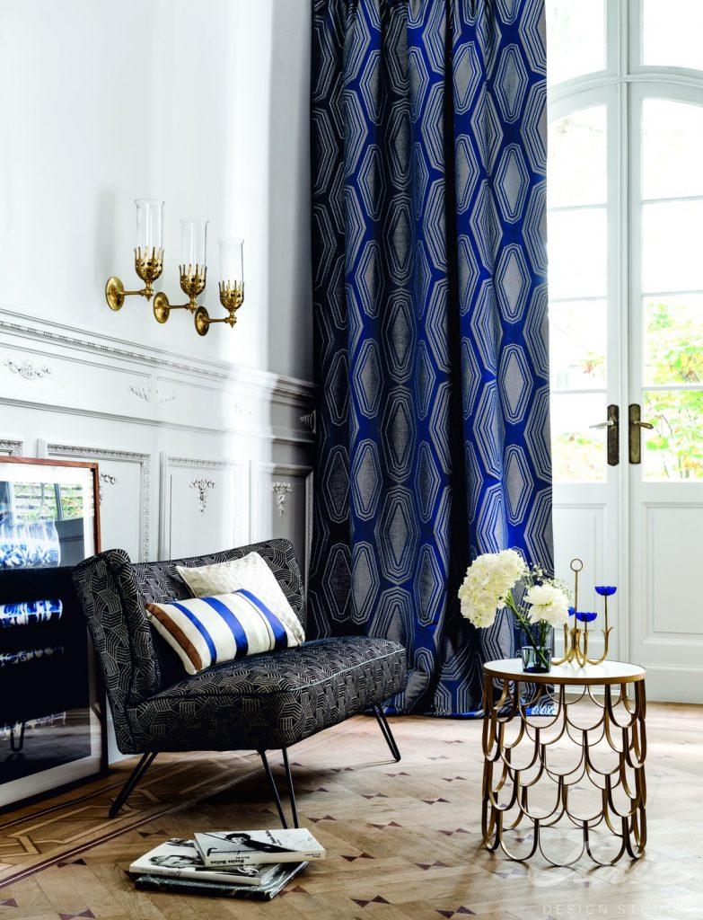 tmavě modré luxusní závěsy camengo grand hotel