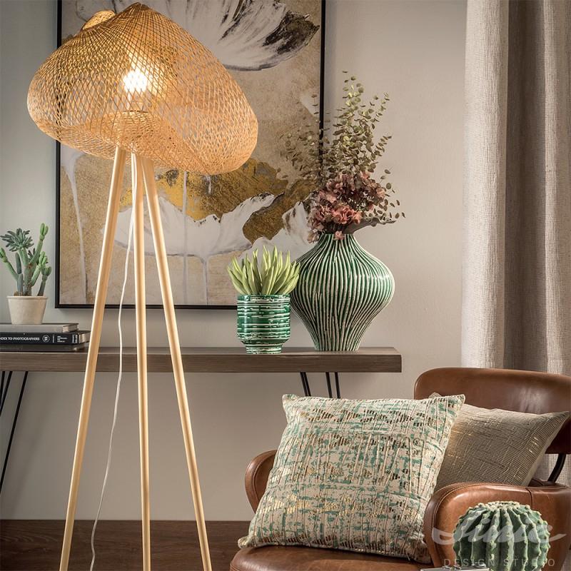 ratanová bambusová dřevěná lampa loca nera boho etno přírodní