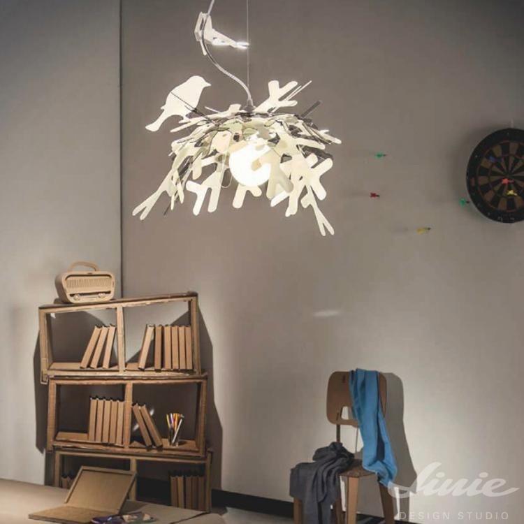 dětské světlo hnízdo s ptáčky slamp luis