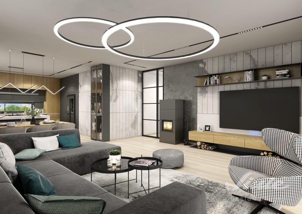 Designové světlo do obýváku černé kruhy osvětlení