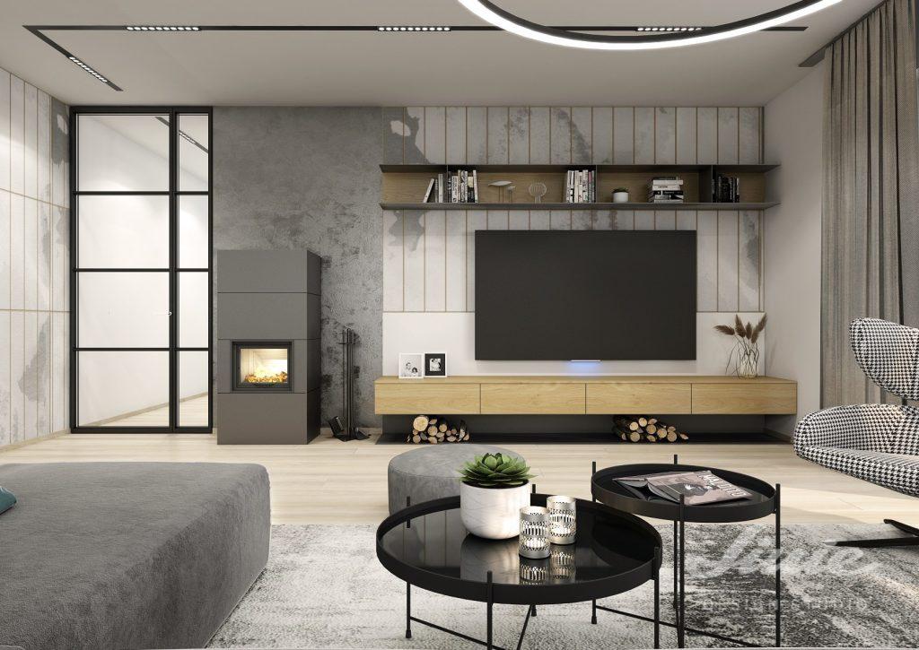 Tapeta za televizi moderní šedý obývací pokoj