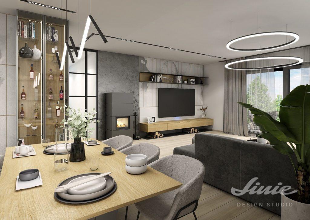Návrhy interieru moderní šedý obývací pokoj