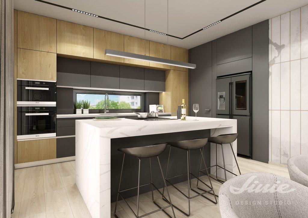 Minimalistická kuchyně černá a dřevo