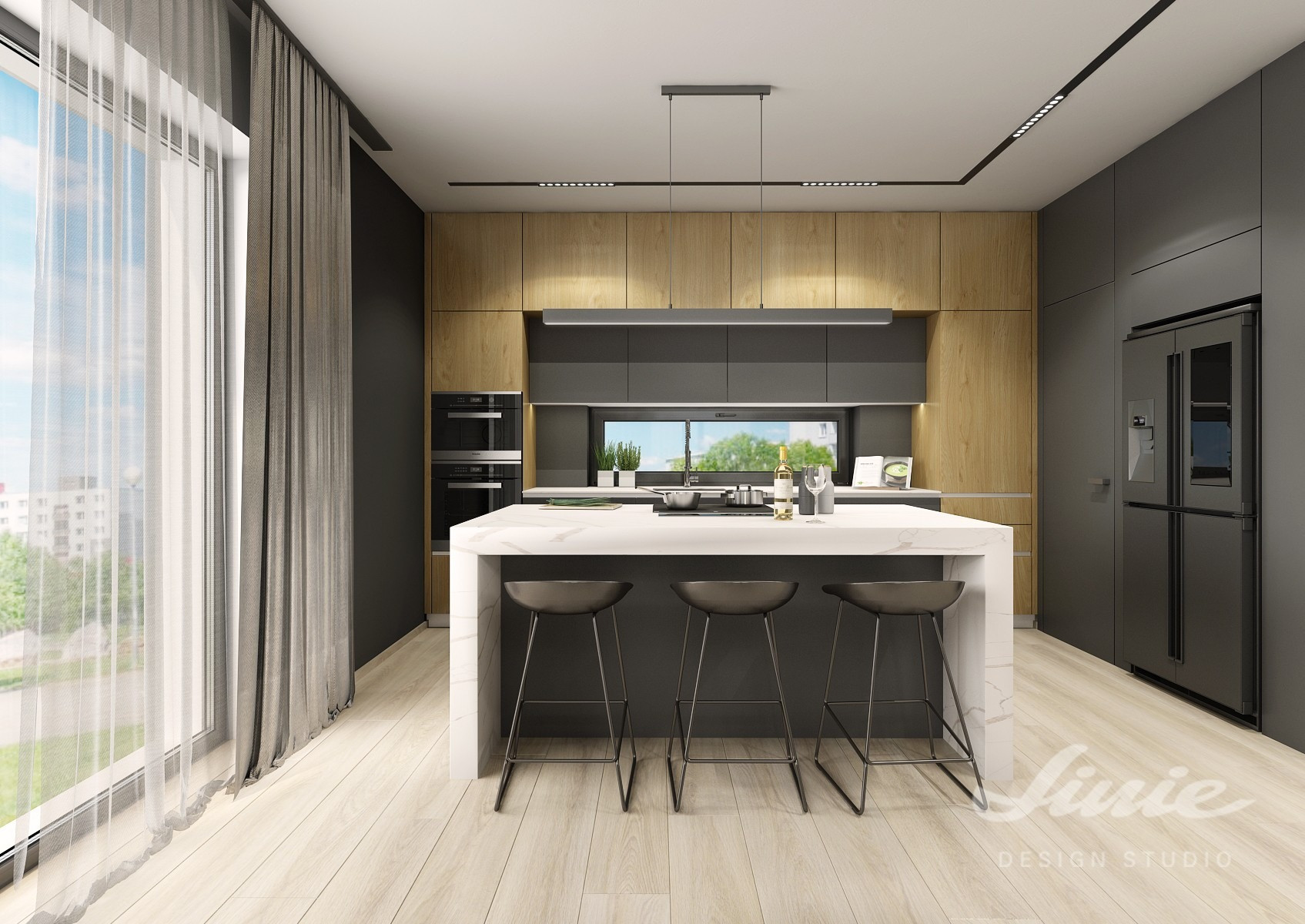 Luxusní kuchyně dřevo černá mramor