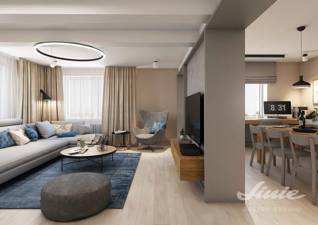 Rozdělení prostoru obývací pokoj jídelna