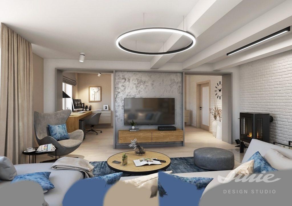 Obývací pokoj s jídelnou umístění televize