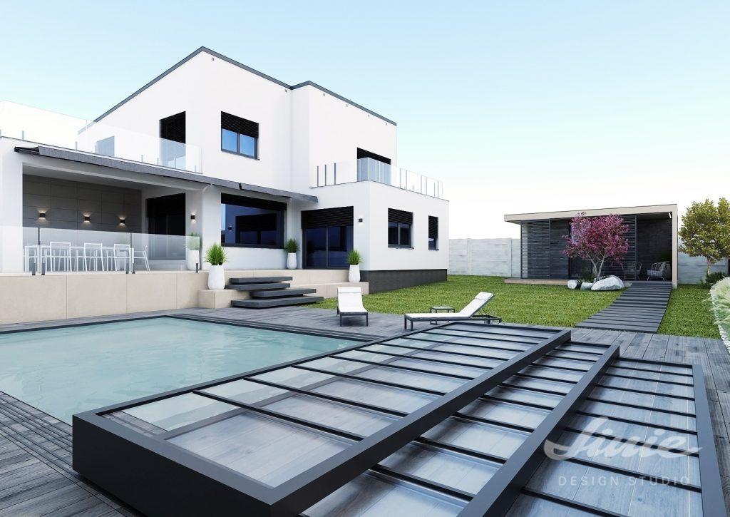 Moderní bílý dům se zahradou a bazénem
