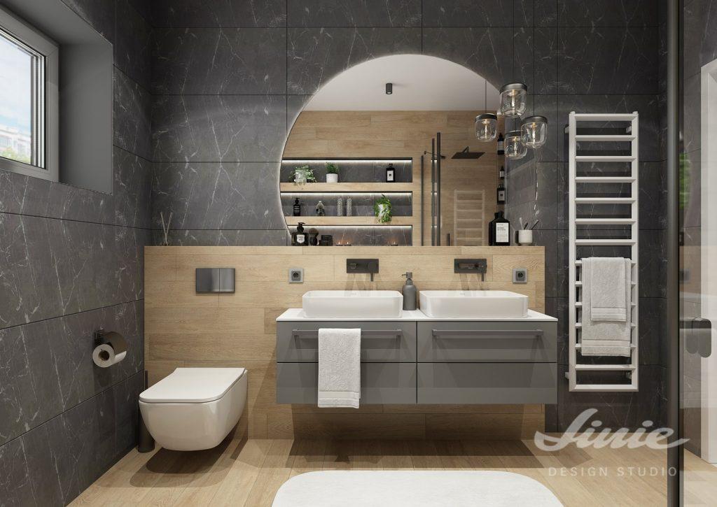Moderní koueplna s tmavě šedým a dřevěným obkladem