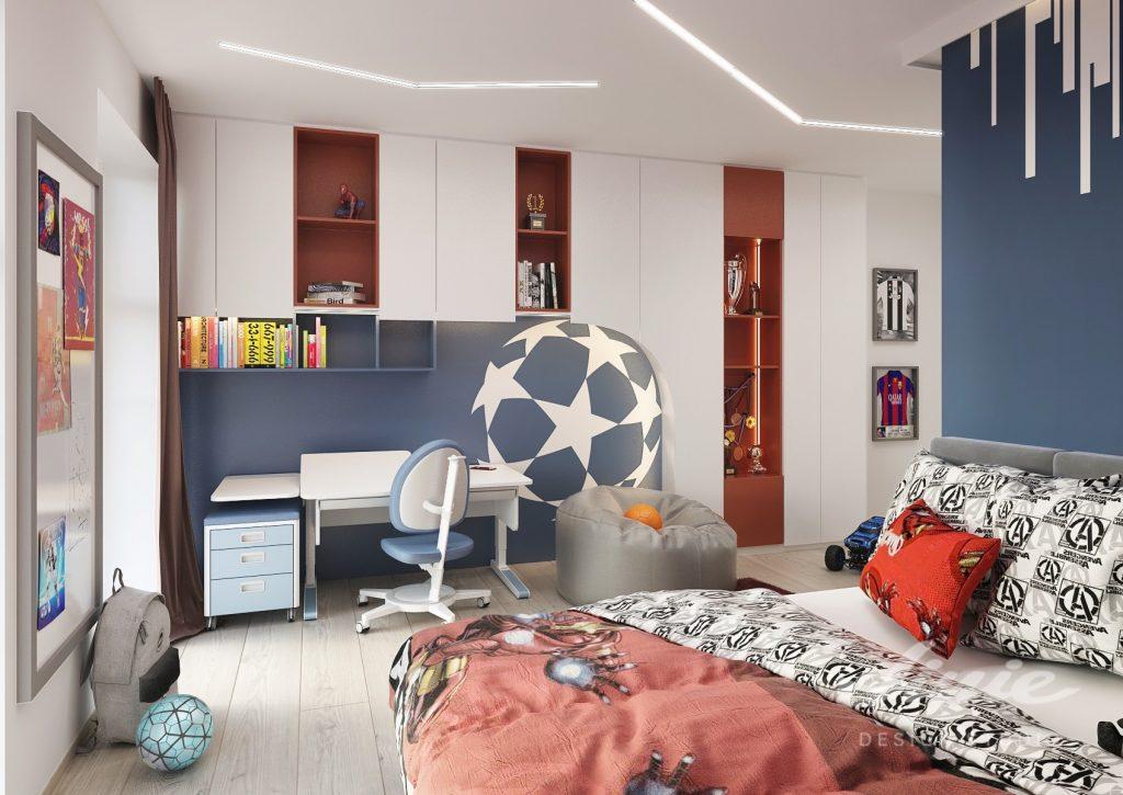 Teenagerský pokoj chlapecký červeno modrý